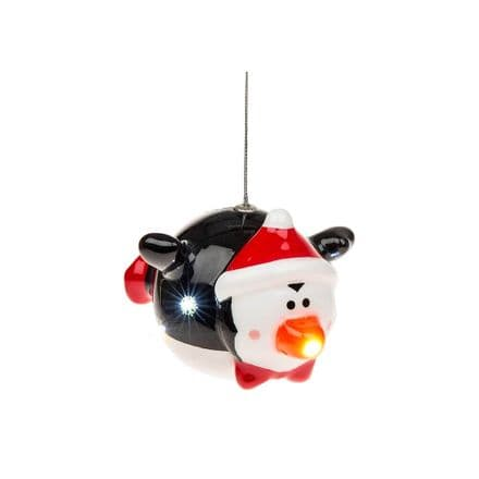 Flying Penguin Flashing Bauble