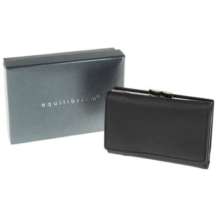 Genuine Leather Small Black Wallet Purse