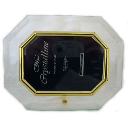 Glass Photo Frame Gold Coloured