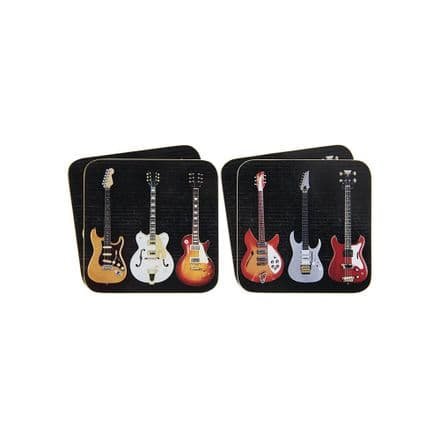 Guitar Rock n Roll Coaster Set of 4
