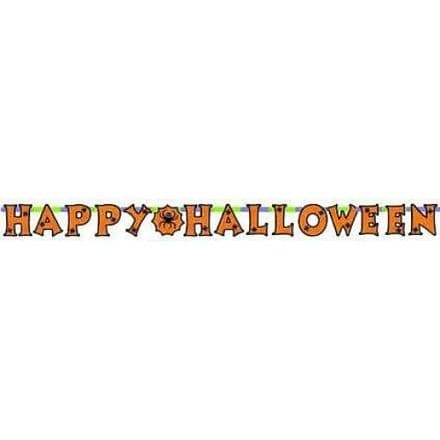 Halloween Banner with 3D Spiders