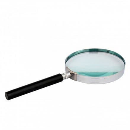 Handheld Nickel Plated Rim Magnifying Glass 4x