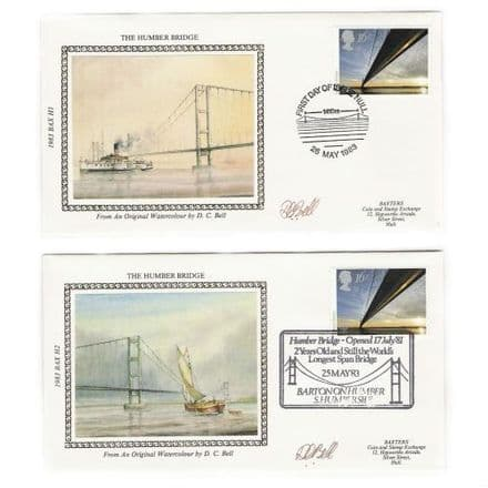 Humber Bridge Pair of Silk First Day Covers