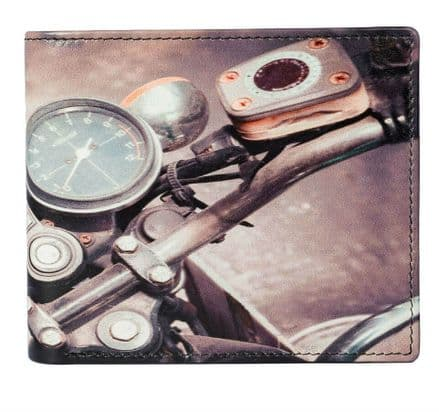 Kalmin Leather Printed Billfold Motorbike Wallet with RFID protection