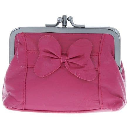 Leather Purse with Bow in Red