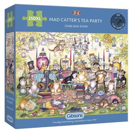 Mad Catter's Tea Party by Linda Jane Smith 250XL Extra Large Piece Gibsons Jigsaw