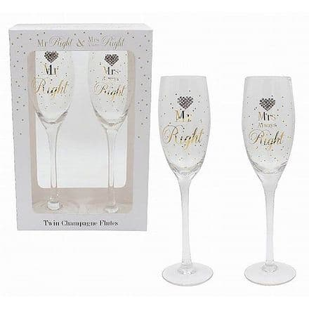 Mad Dots Mr & Mrs Right Set of 2 Champagne Flutes