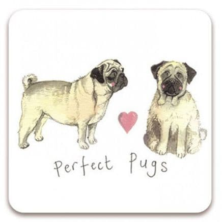 Perfect Pugs Corked Backed Coaster