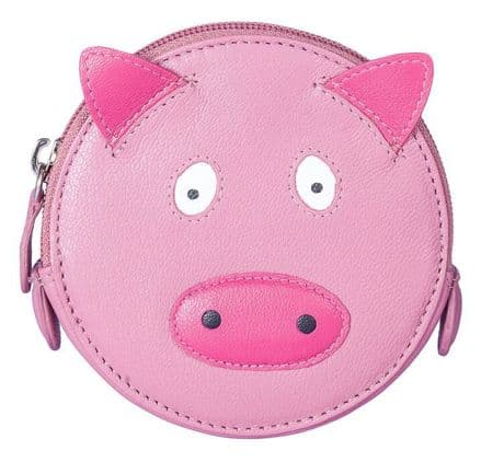 Pinky Pig Round Leather Pink Coin Purse
