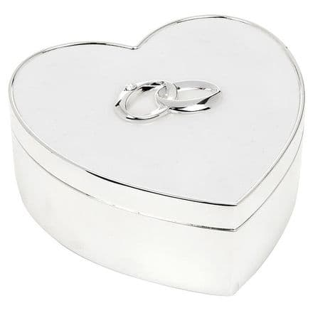 Silver and White Wedding Heart Large Box