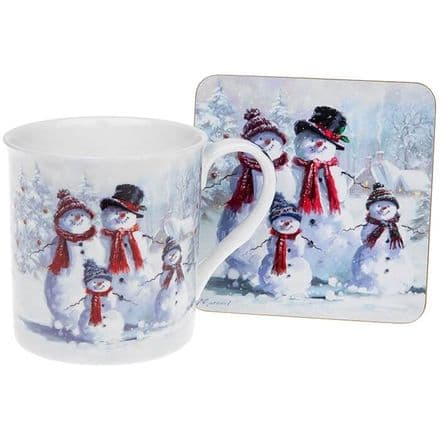 Snowman Family Fine China Mug and Coaster Set