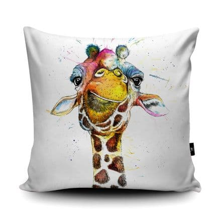 Splatter Giraffe Print vegan faux suede cushion with a Fibre Inner by Katherine Williams