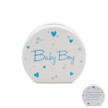 Star and Heart Baby Boy Fine China Money Box
