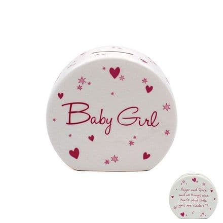 Star and Heart Baby Girl Fine China Money Box