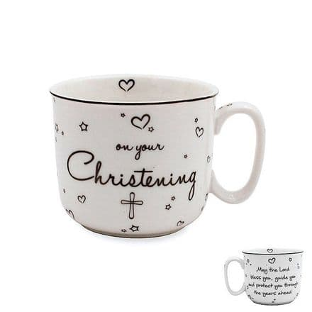 Star and Heart Christening Fine China Mug