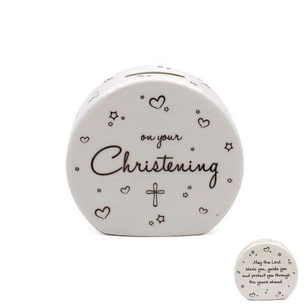 Star & Heart Fine China Christening Money Box