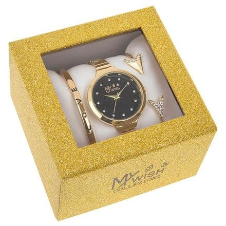 Timeless Gold Coloured Large Dial Watch 3 Piece Set