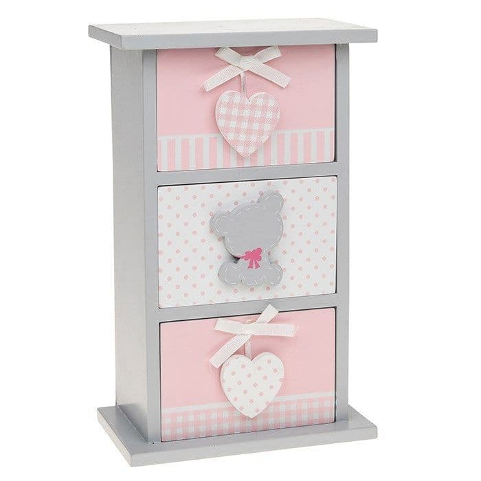 Tiny Ted 3 Drawer Chest in Pink