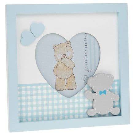 Tiny Ted Gingham Blue Heart Frame 4x4