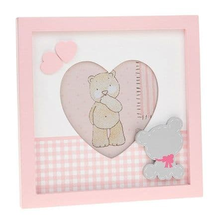 Tiny Ted Gingham Pink Heart Frame 4x4