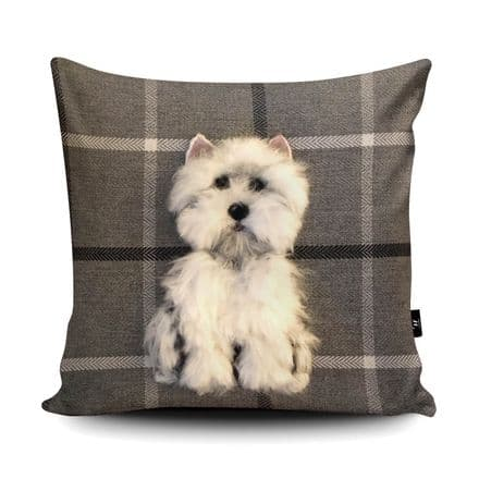 Westie Dog Print vegan faux suede cushion with a Fibre Inner by Sharon Salt