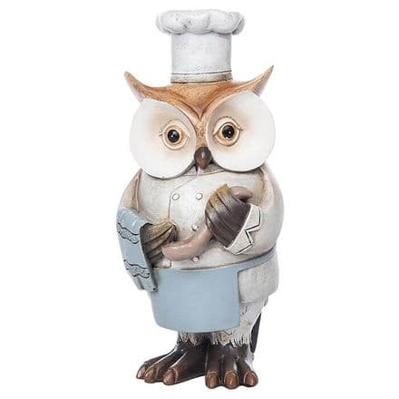 Working Owl Chef Figurine