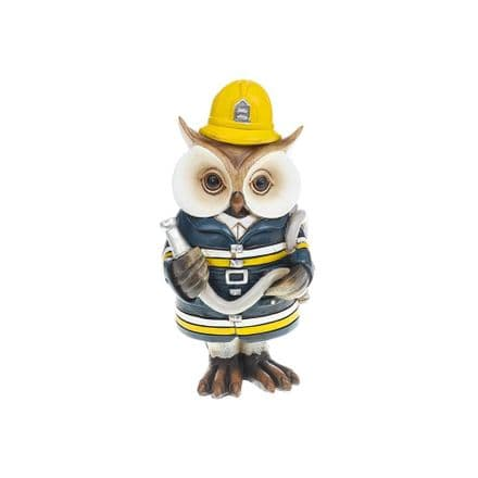 Working Owl Fireman Figurine