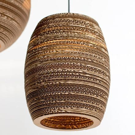 Beehive lampshade made from recycled cardboard