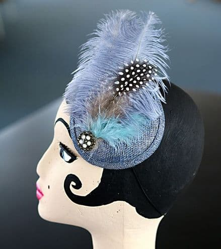 Blue Cocktail Feather Fascinator