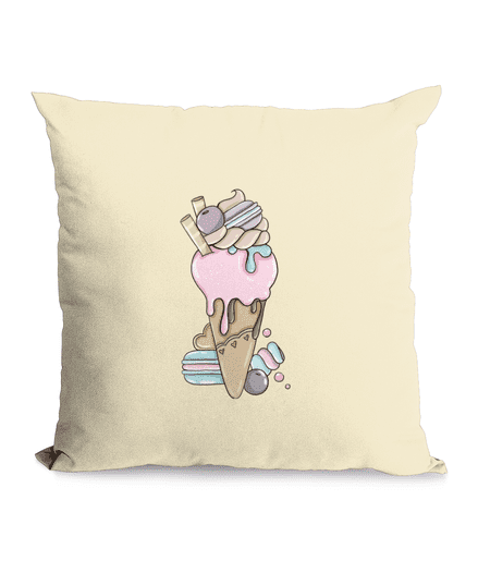 Cotton Cushion Cover with Ice Cream Cone Design