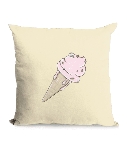 Cotton Cushion Cover with Pink Ice Cream Design