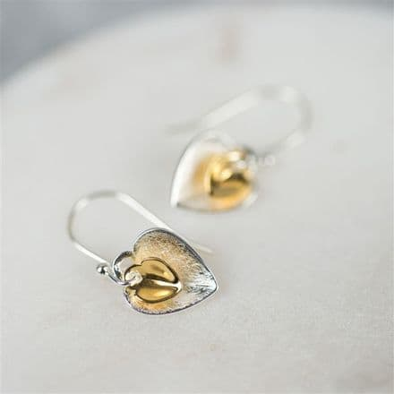 Double Heart Earrings in Silver & Gold