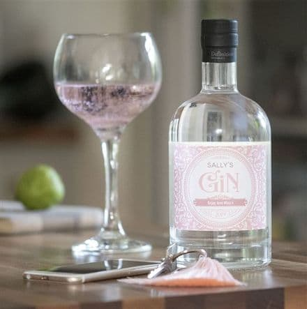Gin with Blush Pink Personalised Label