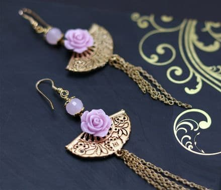 Gold and pink fan and rose dangle earrings