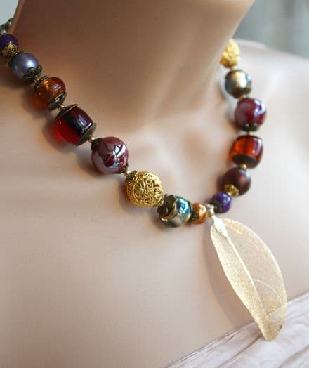Gold leaf necklace in Autumn colours