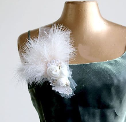 Ivory feather, rose and pearl brooch