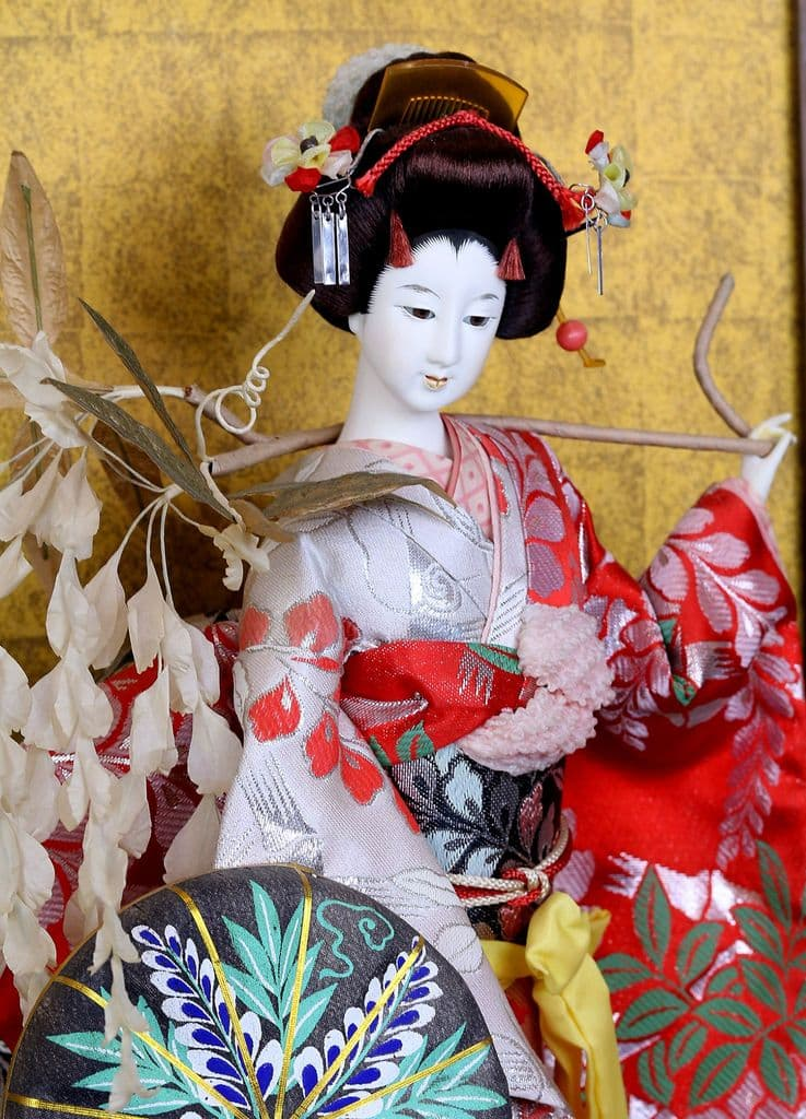 Japanese Geisha in Glass Case