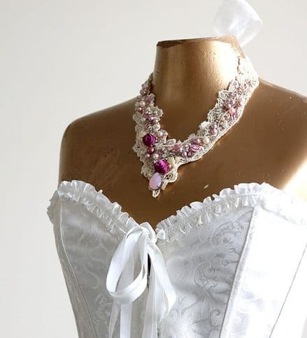 Lace, pearl and crystal necklace