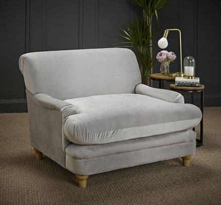 Luxurious Plumpton Armchair in Silver Grey