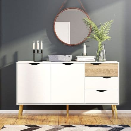 Oslo Large Sideboard in White and Oak