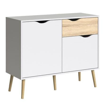 Oslo Small Sideboard in White and Oak