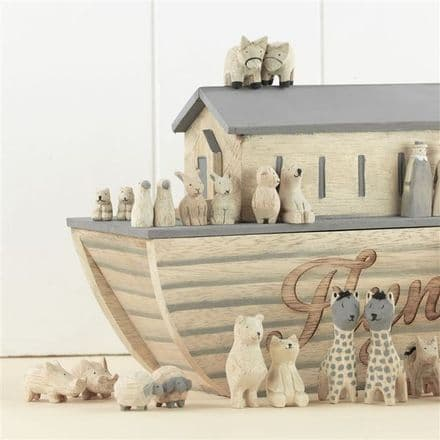 Personalised Wooden Noah's Ark with Animals