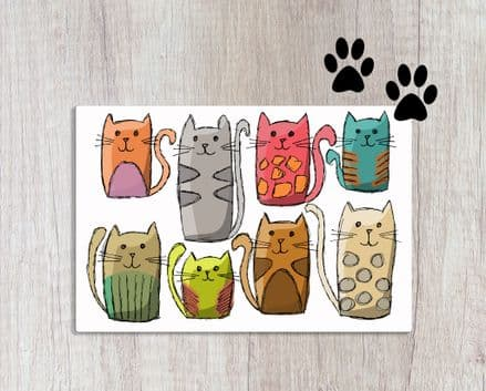 Pet Food Mat with Cartoon Cats