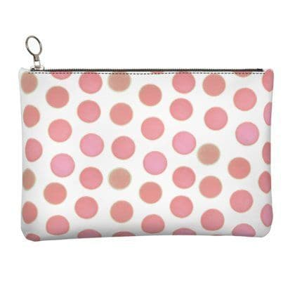 Pink Circles Leather Clutch Bag