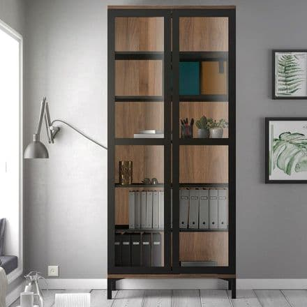Roomers  Display Cabinet with Glass Doors in Black