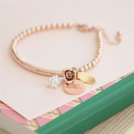 Rose Gold Engraved Charm Bracelet