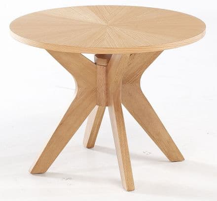 Round Light Oak Side Table
