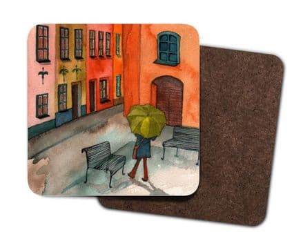 Set of 4 Coasters - Walking in the Rain