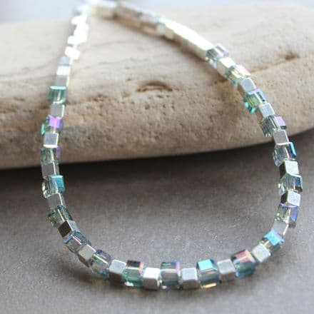 Silver cube and crystal necklace