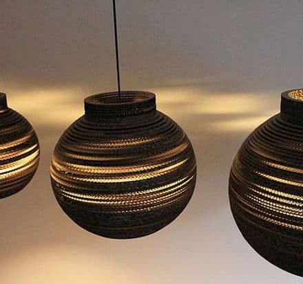 Sphere collared lampshade made from recycled cardboard